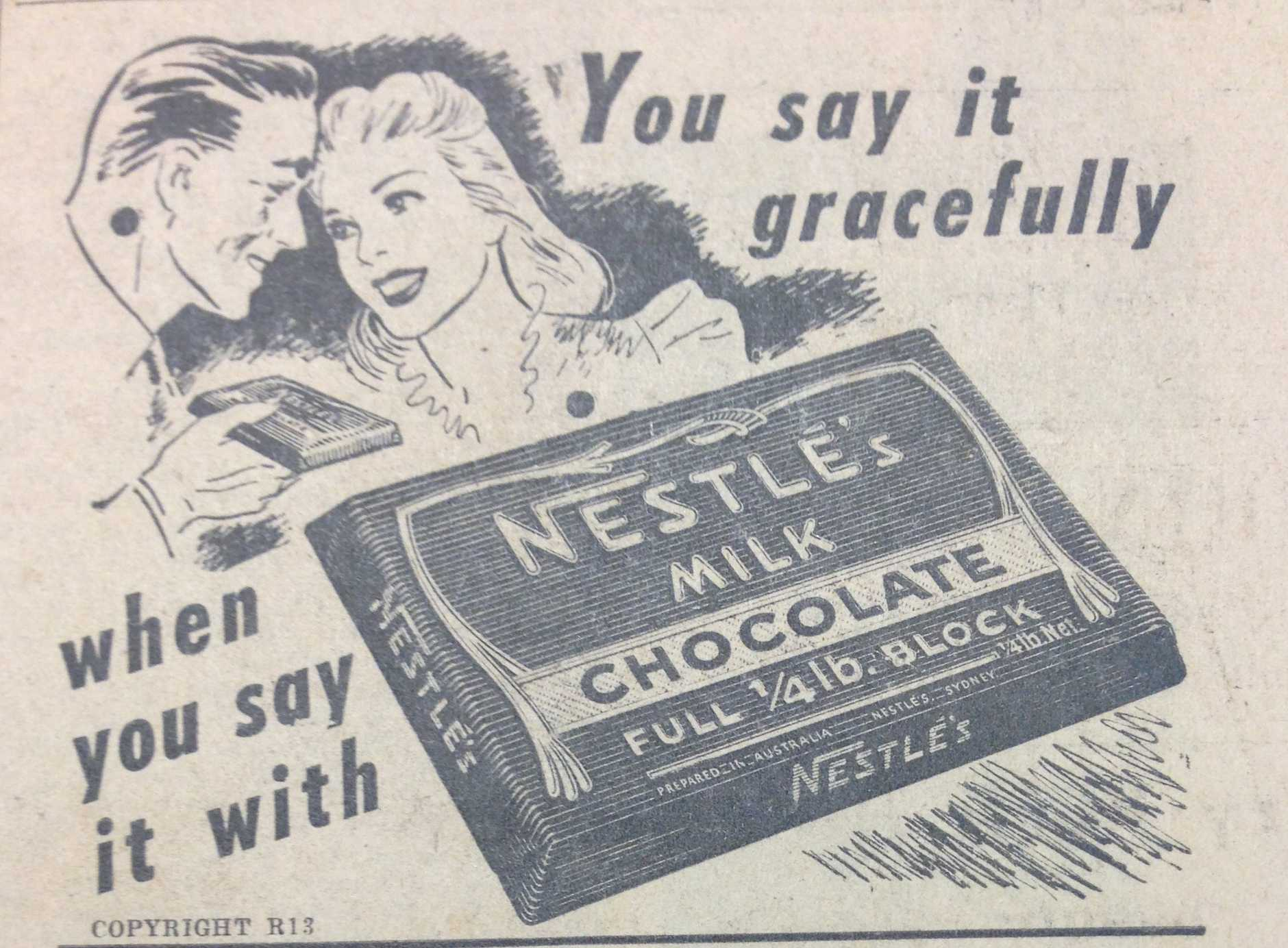 An old chocolate ad in the NewsMail. Circa 1940s.