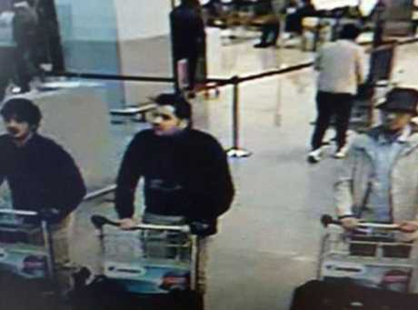 An image released by Belgian Federal Police shows the three suspects in the Brussels Airport attacks, as captured by CCTV.