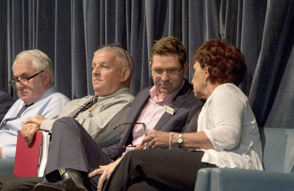 ( From left ) Paul Antonio, Rob Berry, Geoff McDonald and Carol Taylor. Toowoomba Regional Council Candidate Forum at the City Golf Club. Wednesday 3 Mar , 2016.