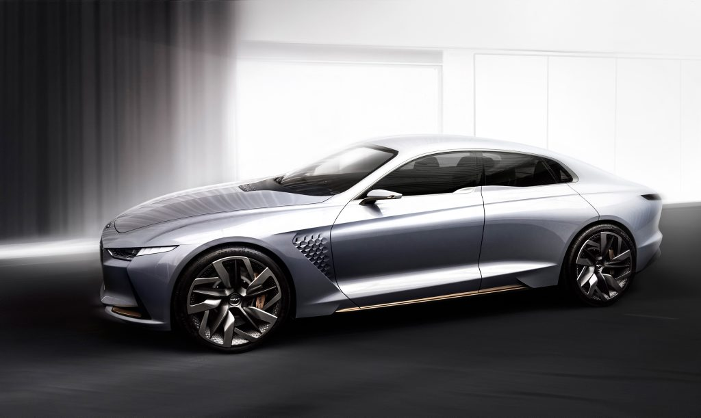 A Genesis Hybrid Sports Sedan Concept has been revealed at the New York International Auto Show. Photo: Contributed