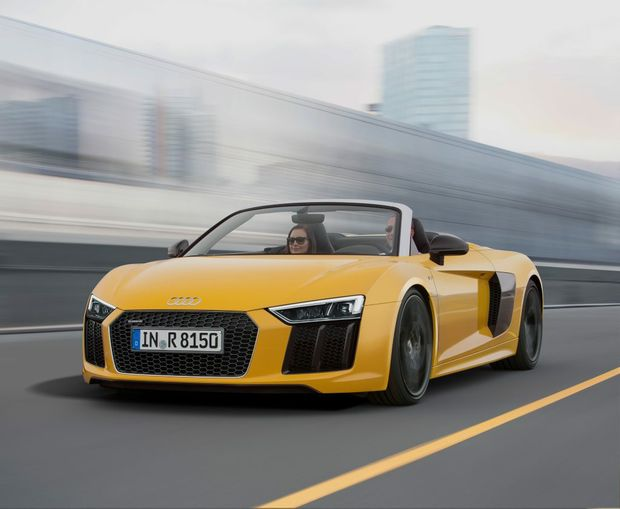 New Audi R8 Spyder V10 has been revealed at the New York International Auto Show. Photo: Contributed