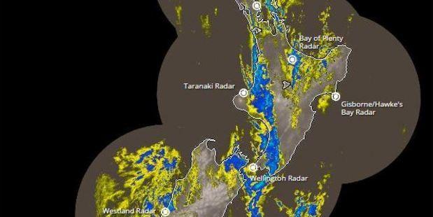 Rain radar shows the worst affected areas around New Zealand.