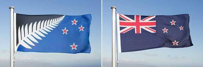 The Silver Fern Flag (left) and the current New Zealand flag (right) designs.