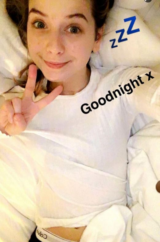 Zoella, 25, posted a photo of herself in underwear on her Snapchat account on Sunday night.