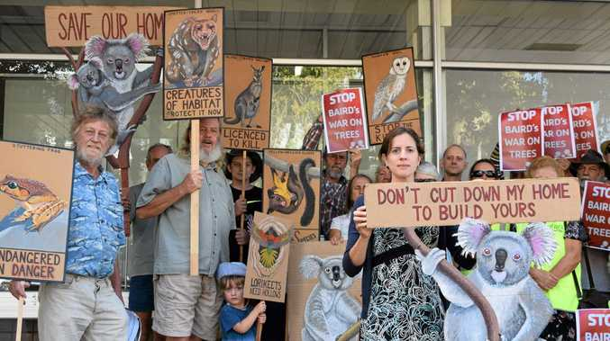 Environmental campaigners outside Thomas George's office who do not want to see the Conservation Act 'weakened'.