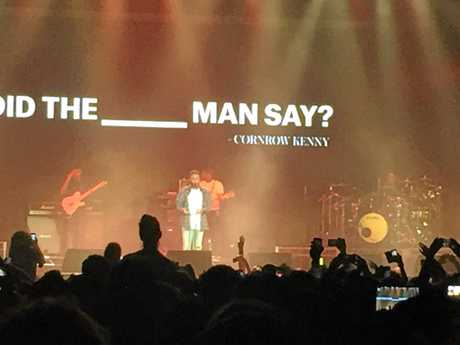 American hip hop artist Kendrick Lamar on stage at Bluesfest 2016.