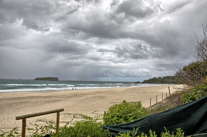 The beach at Fingal Head where a man drowned today.