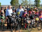ON TRACK: Federal Member for Page Kevin Hogan, Clarence Valley mayor Richie Williamson and members of the Clarence Valley BMX Club.