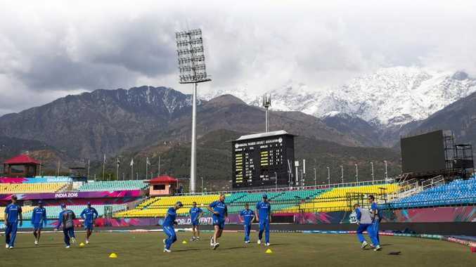 The Australian cricket team practices ahead of its match against New Zealand during the ICC World Twenty20 at the Himachal Pradesh Cricket Association. Photo: Ashwini Bhatia/AP