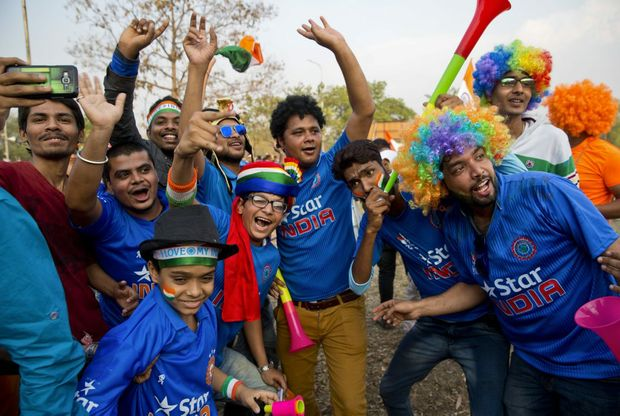 Indian fans sing and dance during the World T20 tournament. Photo: AAP Image.