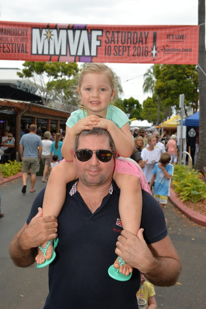Martin Turner and Isla, 3, celebrate the long weekend at the fifth annual Ocean Street World Festival, celebrating multicultural music, dance and food on Easter Sunday.