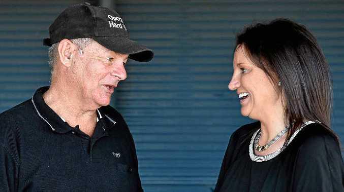 RUN: Hard Yakka founder Bob Davis with Jacqui Lambie at Susan River.