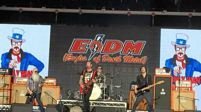 ROCK ON: American rock band Eagles od Death Metal at Bluesfest 2016.