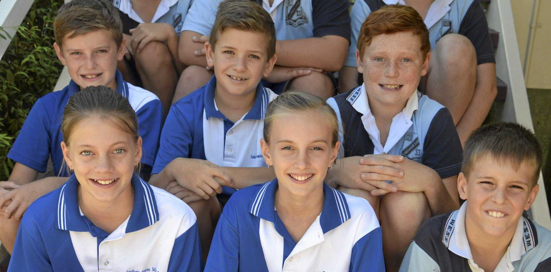WELL DONE: Warwick East State School district and regional stars (front, from left) Madi Balloch, Shardae Wright, Ryan Clark, (middle) William Ready, Noah Dwan, Kaleb Driscoll, (back) Koby Bormolini, Todd Newport and Codie Johnson.