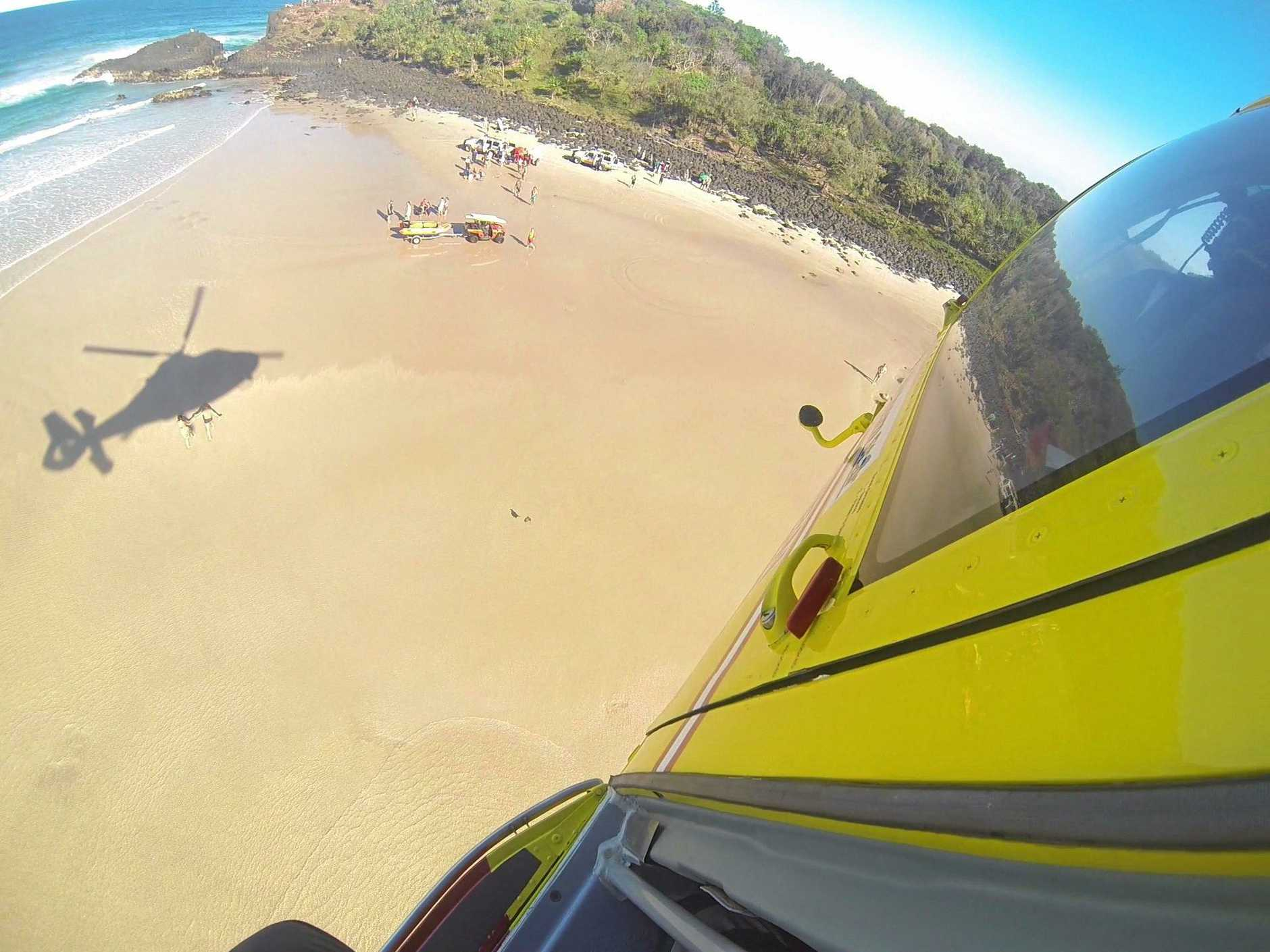 Westpac Life Saver Helicopter attend the scene at Fingal Beach near Tweed Heads. Photo: contributed