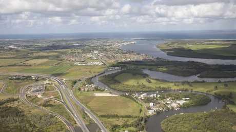 Aerial of the Richmond River, Ballina Bar Emigrant Creek Pacific High way Teven Interchange. Photo Jay Cronan / The Northern Star