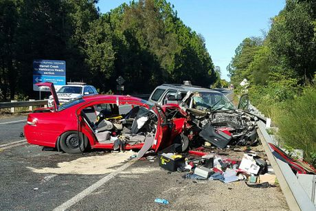 A man has died and a woman was left in a critical condition after a head-on collision on the Pacific Hwy near Warrell Creek. Photo: Frank Redward