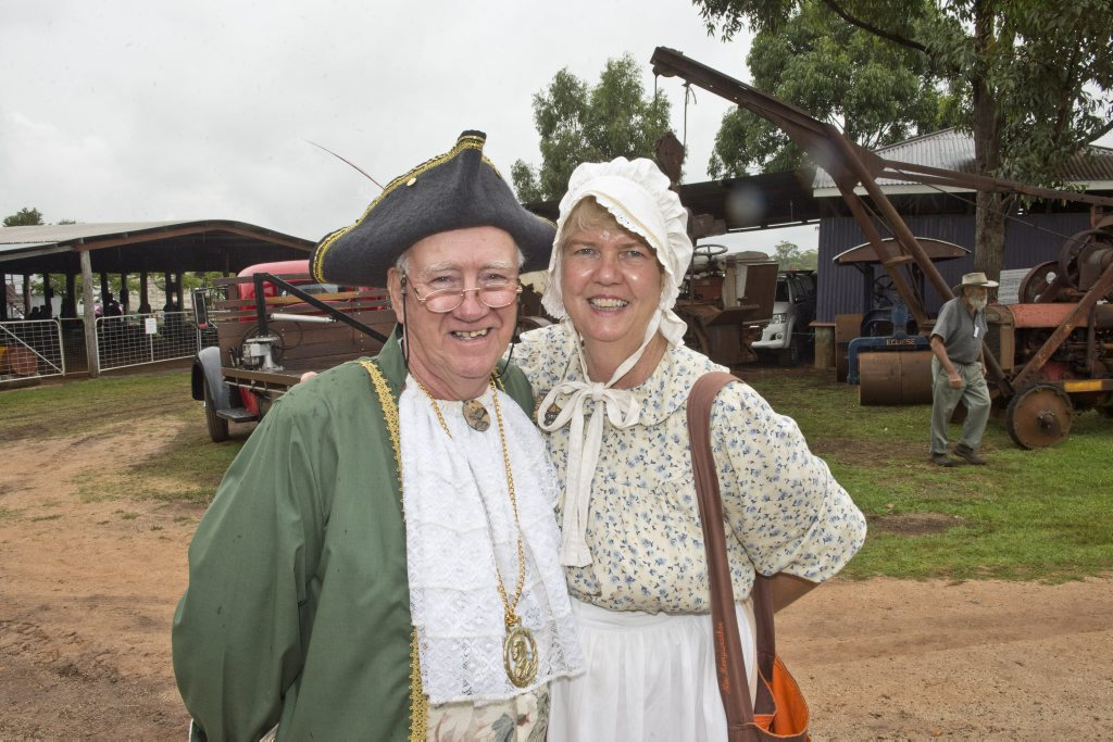 Craig and Sylvia Pemberton stroll around the Highfields Pioneer Village during the Vintage Easter Festival last year.