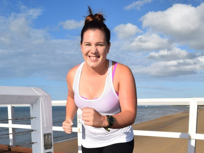 March Charge: Sophie Morris has run about 100km to raise about $1000 for the Queensland Cancer Council. Photo Hannah Baker / Fraser Coast Chronicle