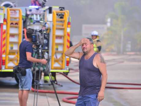 A fire destroyed a Costume business in Maroochydore. Fire crews worked to control the blaze. Owner Robert Polzin is devastated.