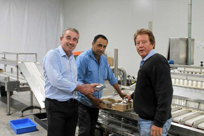 PROGRESS: Federal MP Kevin Hogan met with Oz Group chairman Gurmesh Singh and financial controller Eugene Tschaut.