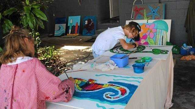 CRAFTY AFFAIR: Emerald Beach's youngest residents creating artworks for the upcoming fair.