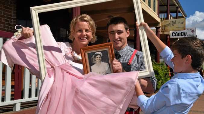 MEMORY LANE: Pricilla Dollery, Josh Lock  and Charlie Turner promote the latest exhibition at Alstonville's Crawford House - Gowns, Veils, Vows and Ties: The Rituals That Bind.
