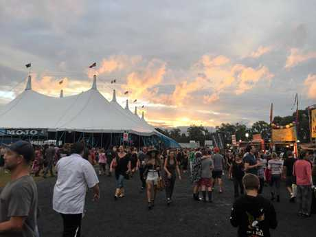 SUNSET: The sun went down but the music went up a notch at Bluesfest on Easter Sunday 2016.