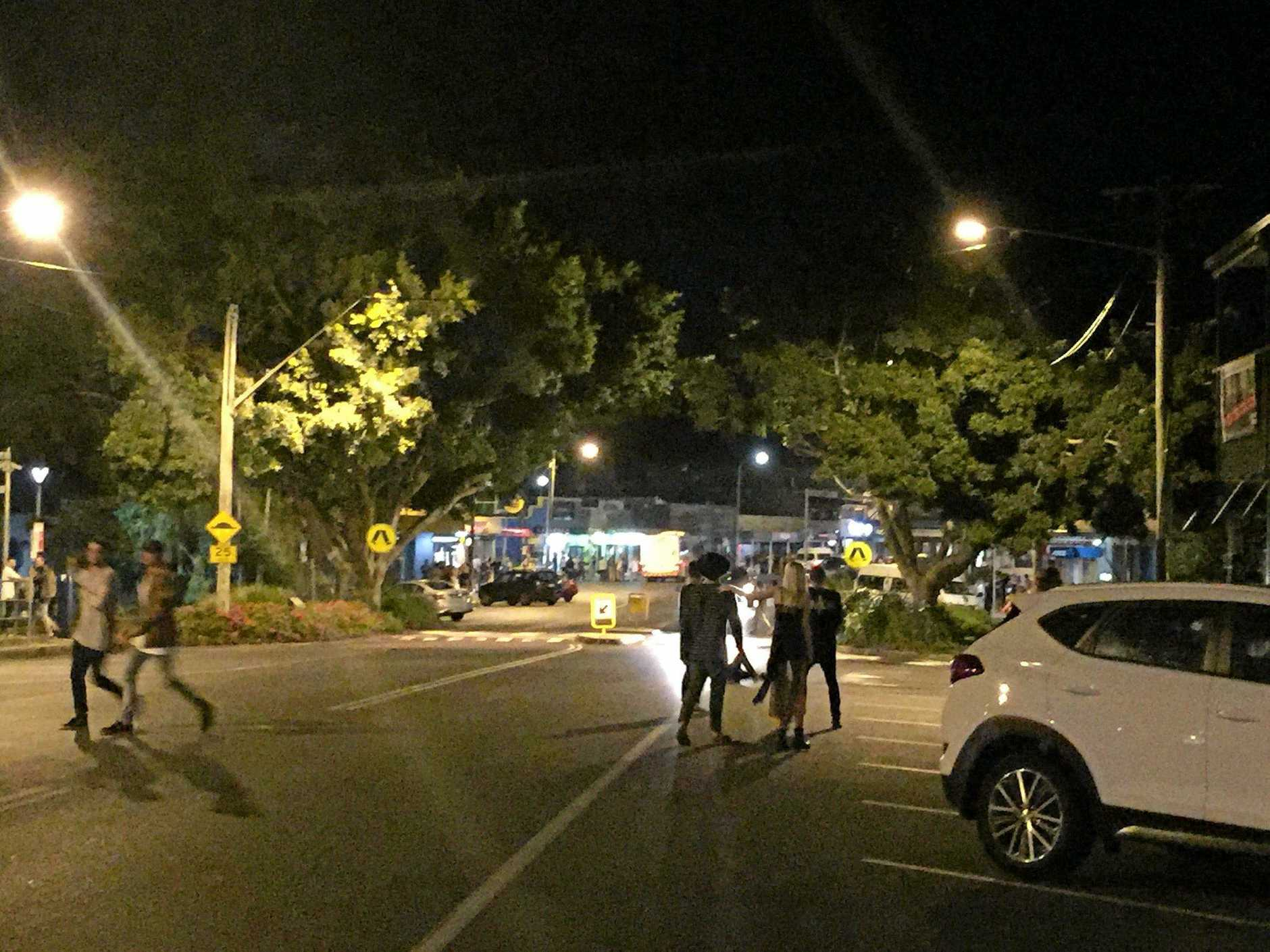 BUSY NIGHT: Byron Bay's Jonson St had dozens of young people looking for transport services in the early hours of Monday.