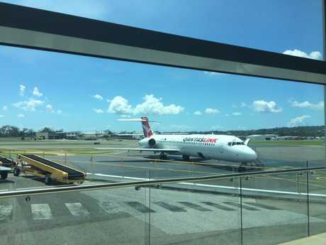 An engineer has been flown in to assess the engine on this Qantas plane.
