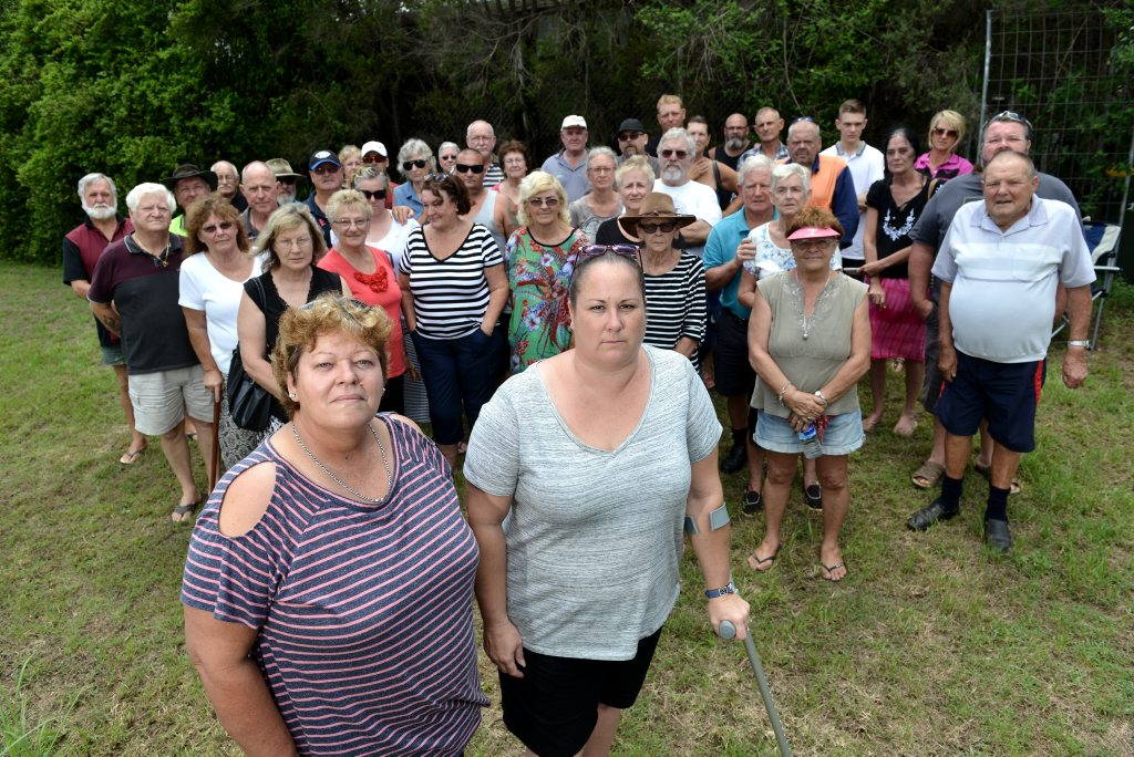 Gunalda township has a serious problem with power supply from Ergon Energy. (foreground) Samantha Forsyth and Sue Chapman with residents meeting at Gunalda.