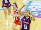 Firebirds Gretel Tippett passes the ball in the grand final between the Queensland Firebirds and NSW Swifts in Brisbane. Photo: AAP Image/Glenn Hunt.