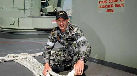 SEA LIFE: Murwillumbah local Able Seaman Simon Taylor at work on HMAS Darwin.