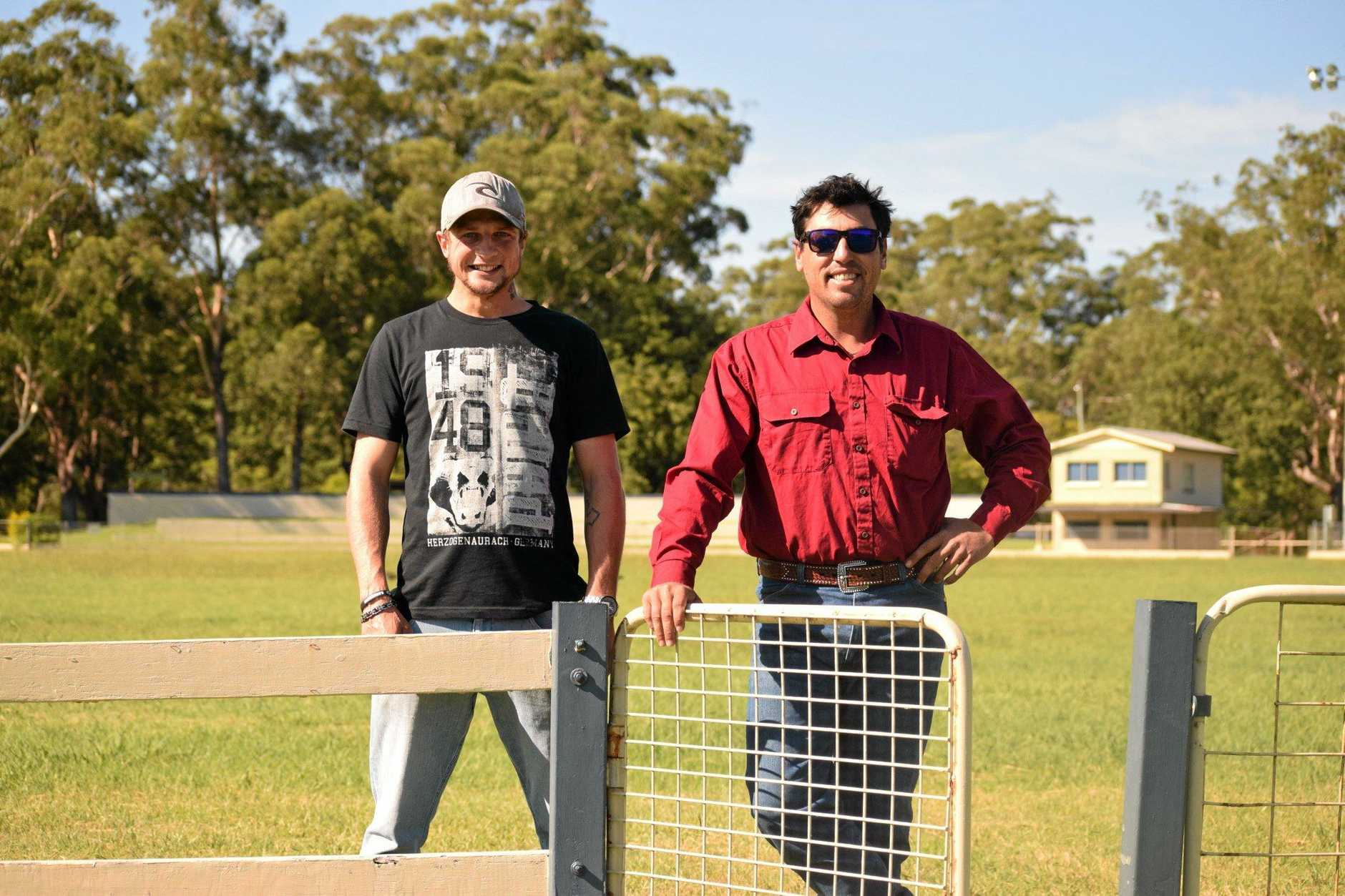 KICKING DUST: Coffs residents Jesse Riley and George Corbett will compete in Saturday's Coffs Harbour Rodeo.