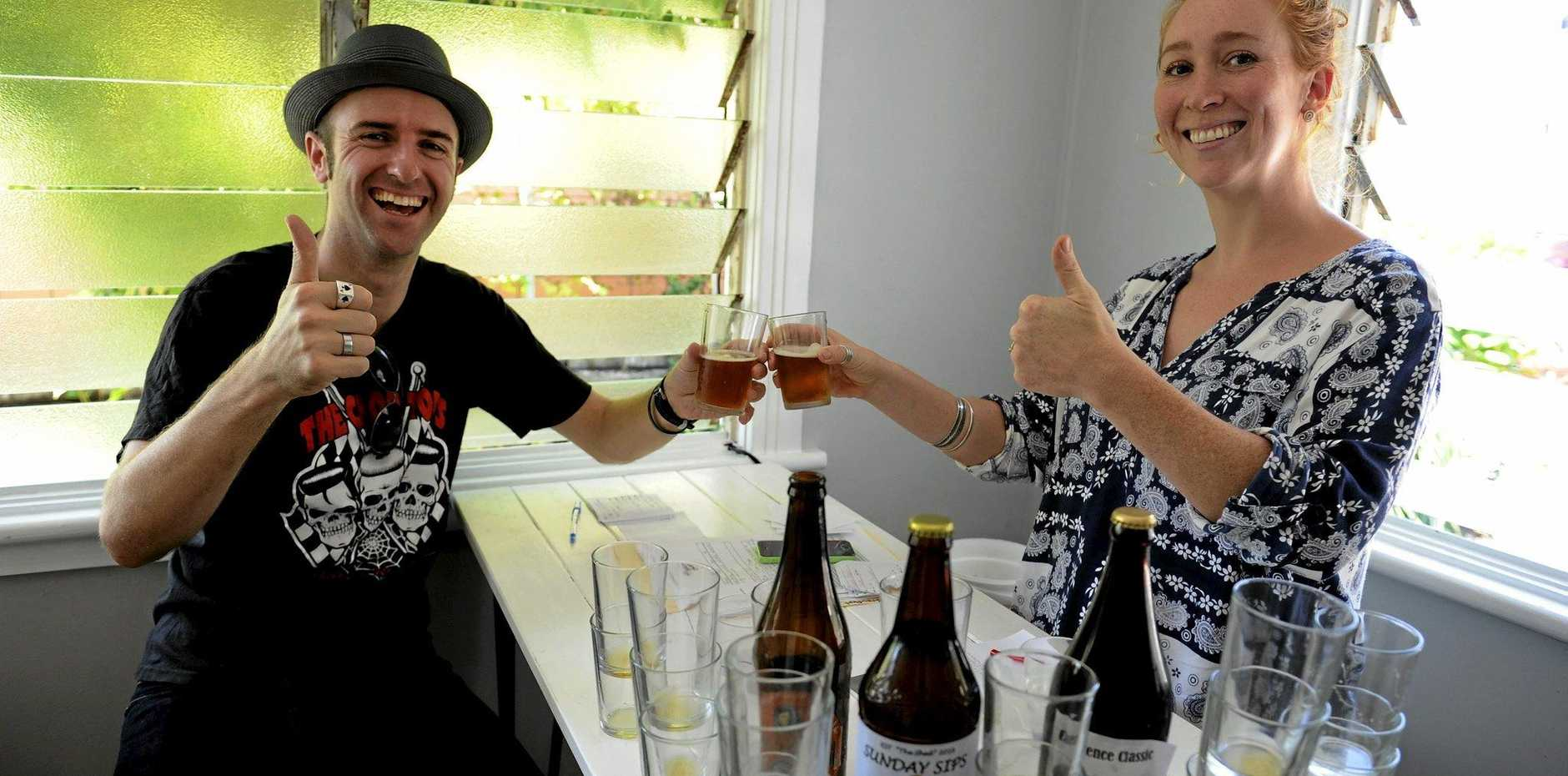 TASTE TESTING: Judging of the Brewfest home brew competition, hosted by Irons and Craig Cafe in Yamba, is beer blogger Mason Hellcat and Palmers Island Store and Bottleshop owner Holly Usitani.