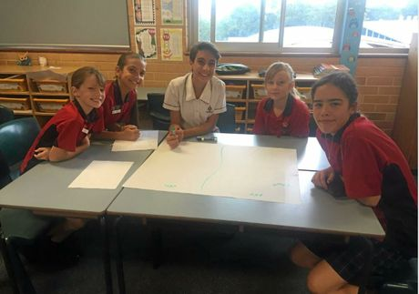 Debaters Zoe, Ally, Chiara, Tully and Bronte.