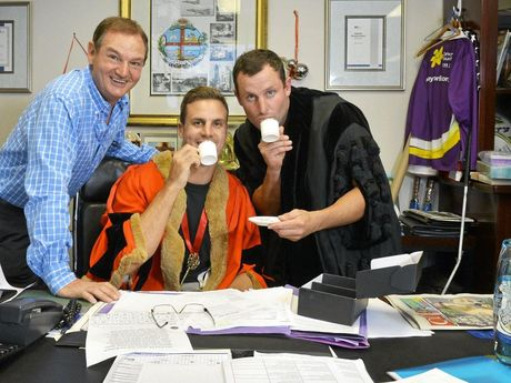 MAYOR BEAU RYAN: The Footy Show funny man Beau Ryan and former NRL star Chris Walker had fun when they visited Mayor Paul Pisasale in his office and donned the mayoral robes.