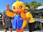 WADDLE HAPPEN?: Looking forward to 5000 rubber ducks taking the plunge on Sunday are (from left) Grill'd Healthy Burgers owner David Giles, Rotary Duck and Rotary Club of Mooloolaba service director Charmaine Wheatley.