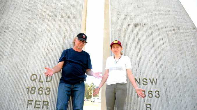 Canadian national Donnie Culbert and UK resident Catherine Kinsella are an hour apart on the NSW and Queensland border, despite being seperated by less than a metre.