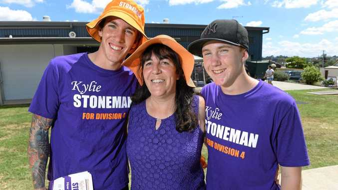 Division 4 candidate Kylie Stoneman with her sons Will and Ben at Raceview State School.Photo: Rob Williams / The Queensland Times