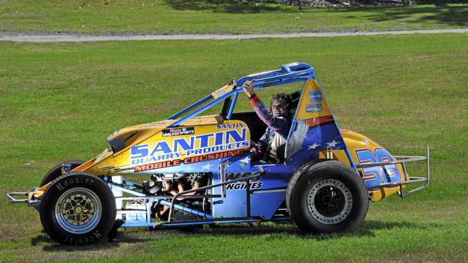 KING OF THE HILL: Wingless sprint driver Mick Santin is now on top fo the Wingless Sprintcar Driver to America series leaderboard after a strong showing at Grafton on Good Friday.
