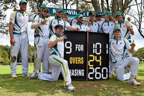 Cudgen celebrates after winning the Far North Coast LJ Hooker League two-day cricket final against Lennox Head