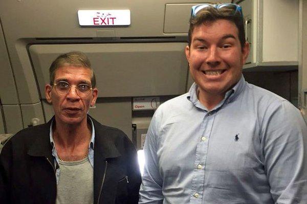 Ben Innes poses for a photo with the EygptAir hijacker Seif Eldin Mustafa.