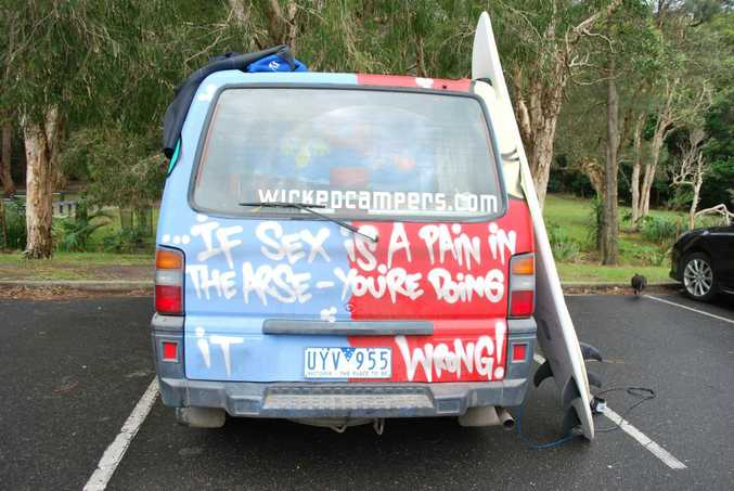 The rear of the Wicked camper van being used by French travellers Max Bartra and Pierre