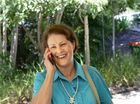 Cr Sheila Ireland takes a phone call after news of her victory in Division 9.