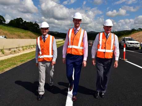 UPGRADES: Peter Wellington, former Deputy PM Warren Truss and Minister for Main Roads and Road Safety Mark Bailey at the upgrade in March this year.