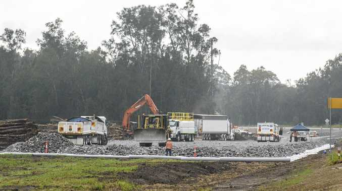 Soft soil work continues on the upgrade of the Pacific Highway near the Harwood Bridge.