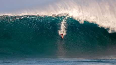 Aaron Gold (Hawaii) has been nominated for the Biggest Paddle Award for this wave at Jaws, Maui, Hawaii on January 15, 2016.