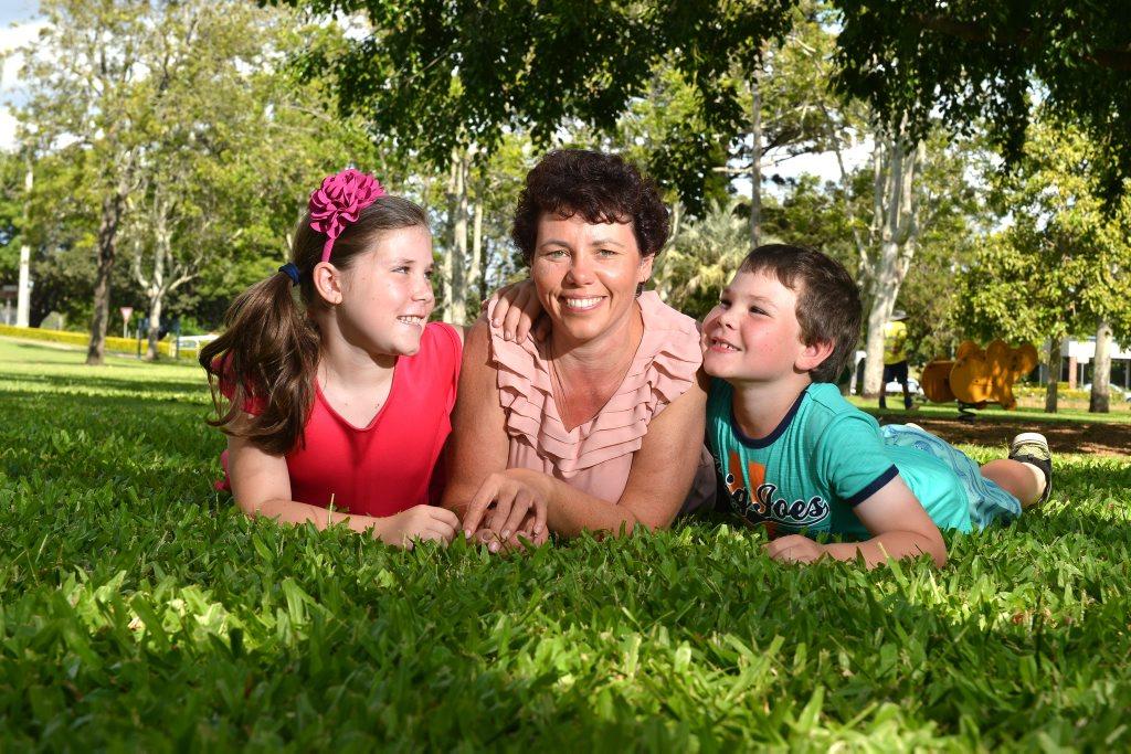 From left: Amy Wheeler, 9, Natalie Wheeler, 39, and Zachary Wheeler, 7.