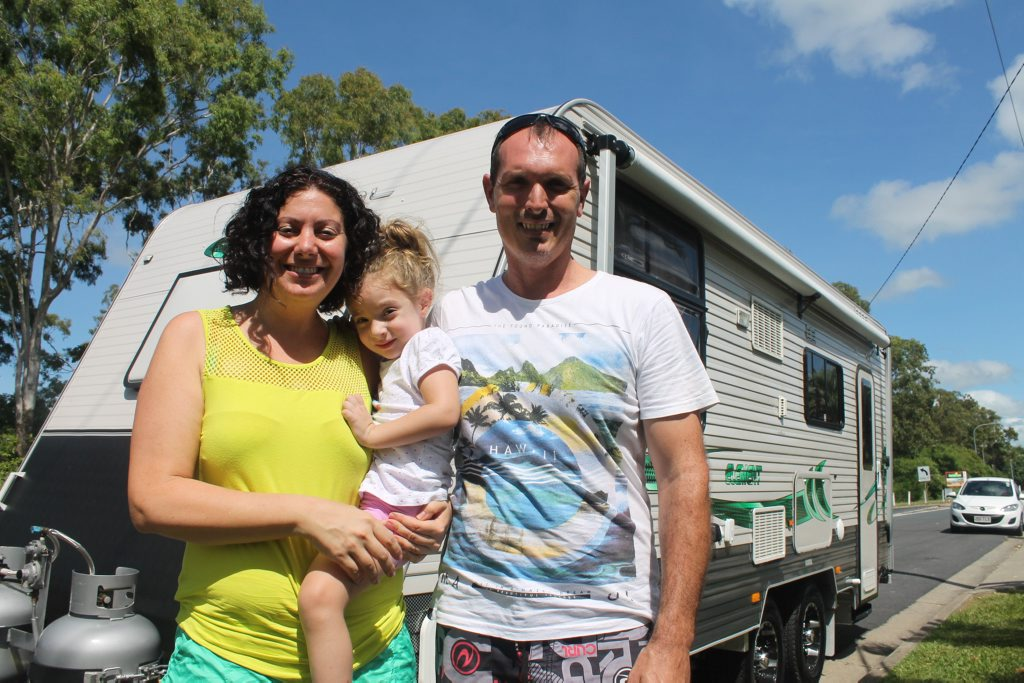 Melissa Schembri Francis and Pedr Francis have sold almost all their possessions, including a mechanic business, and are embarking on a three-year caravan holiday with daughter Chloe Francis, 3. Photo Lucy Smith / Daily Mercury